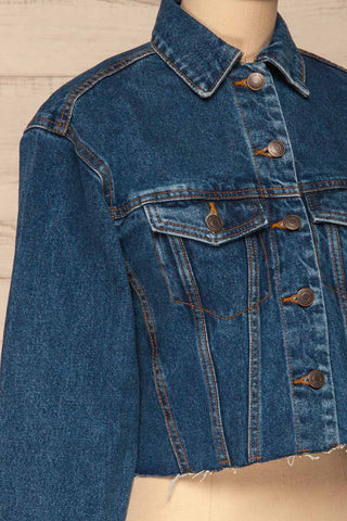 Cransac Crop Jean Jacket | Veston Denim | La Petite Garçonne side close-up