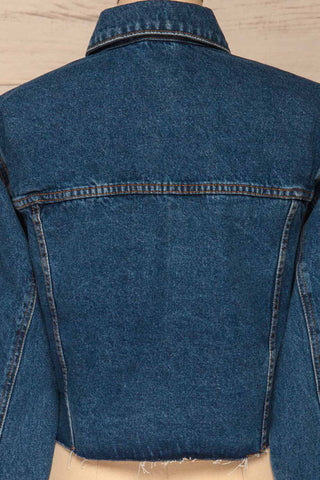 Cransac Crop Jean Jacket | Veston Denim | La Petite Garçonne back close-up