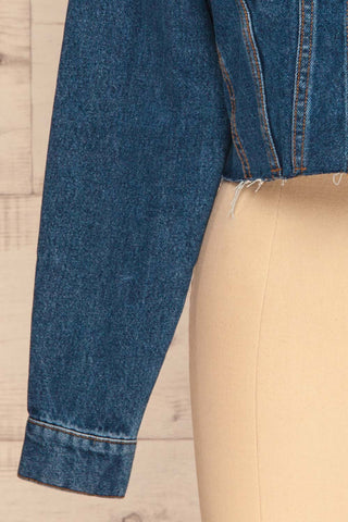 Cransac Crop Jean Jacket | Veston Denim | La Petite Garçonne bottom close-up