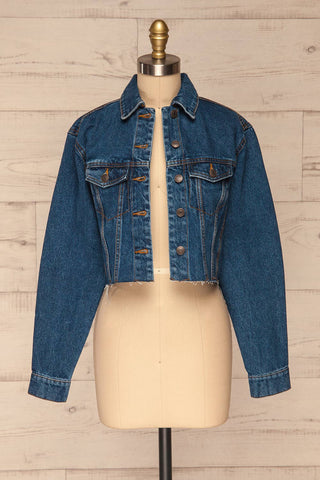 Cransac Crop Jean Jacket | Veston Denim | La Petite Garçonne  front view open