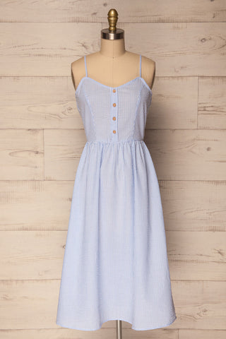 Crindle Sky Blue & White Striped A-Line Dress | La Petite Garçonne
