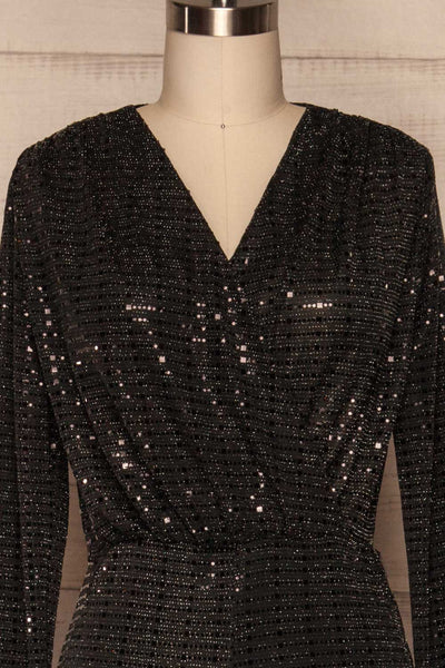 Criostail Black Long Sleeved Sequin Jumpsuit front close up | La Petite Garçonne