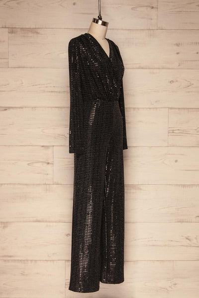 Criostail Black Long Sleeved Sequin Jumpsuit side close up | La Petite Garçonne