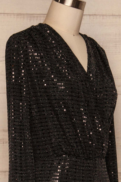 Criostail Black Long Sleeved Sequin Jumpsuit side closeup | La Petite Garçonne