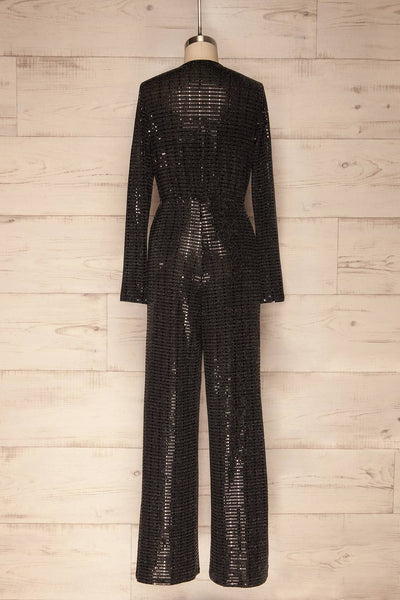 Criostail Black Long Sleeved Sequin Jumpsuit back view | La Petite Garçonne