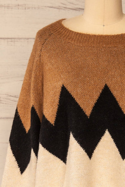 Cugir Navy Patterned Knit Sweater | La petite garçonne front close-up