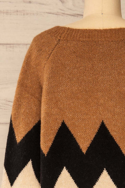 Cugir Navy Patterned Knit Sweater | La petite garçonne back close-up