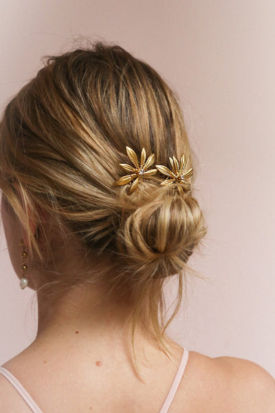 Cybela Gold Hair Combs Set with Leaves | Boudoir 1861 on blond model with a low bun