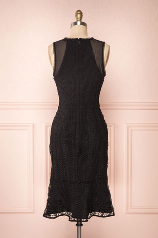 Cybele Black Crochet Midi Cocktail Dress back view | Boutique 1861
