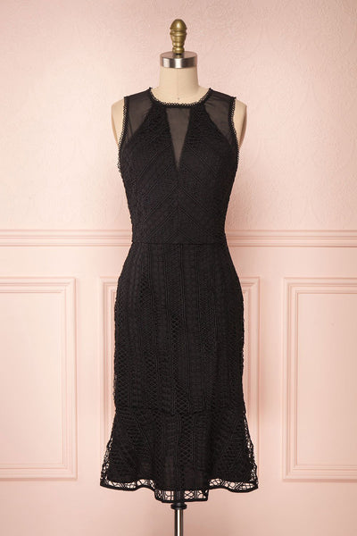 Cybele Black Crocheted Lace Midi Dress | Boutique 1861