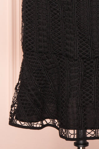Cybele Black Crochet Midi Cocktail Dress bottom close up | Boutique 1861