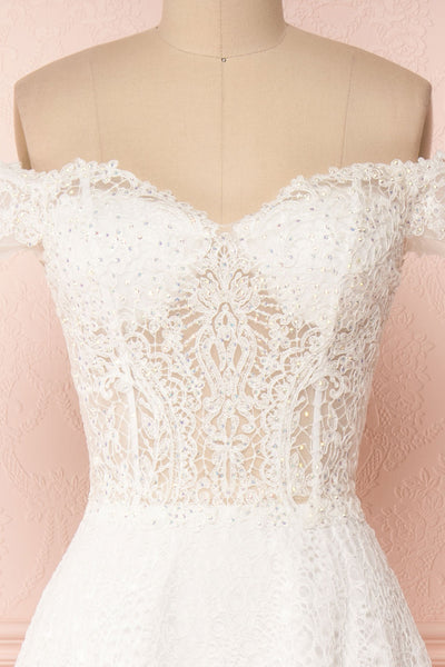 Cybelle White Lace Off-Shoulder A-Line Bridal Dress front close up | Boudoir 1861
