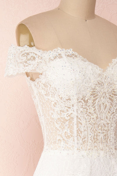 Cybelle White Lace Off-Shoulder A-Line Bridal Dress side close up | Boudoir 1861