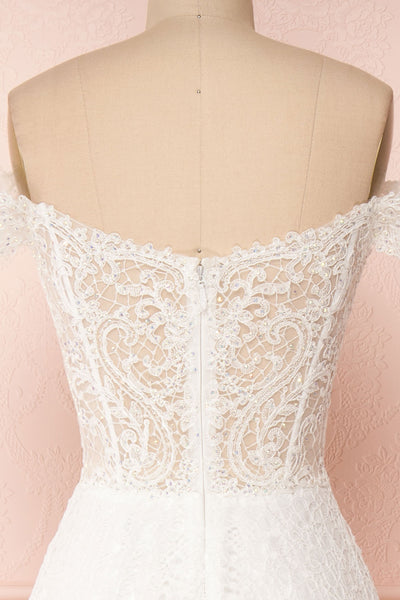 Cybelle White Lace Off-Shoulder A-Line Bridal Dress back close up | Boudoir 1861