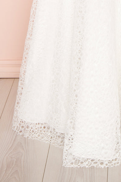 Cybelle White Lace Off-Shoulder A-Line Bridal Dress skirt close up | Boudoir 1861