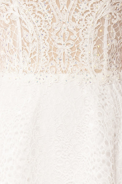 Cybelle White Lace Off-Shoulder A-Line Bridal Dress fabric close up | Boudoir 1861