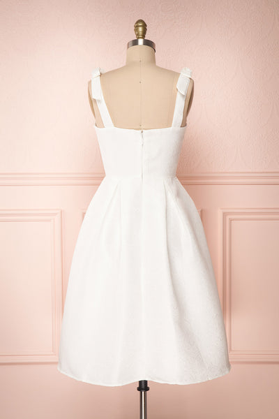 Cybill Ivory Brocade A-Line Cocktail Dress with Bows | Boutique 1861