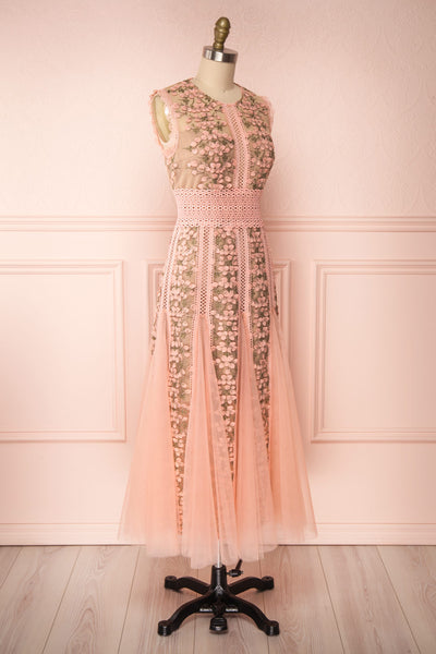 Cynosura Pink & Taupe Mesh Embroidered Maxi Dress | Boutique 1861 side view