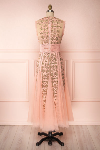 Cynosura Pink & Taupe Mesh Embroidered Maxi Dress | Boutique 1861 back view