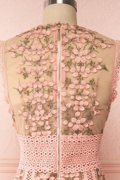 Cynosura Pink & Taupe Mesh Embroidered Maxi Dress | Boutique 1861 back close up