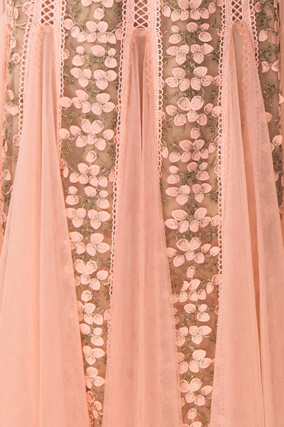 Cynosura Pink & Taupe Mesh Embroidered Maxi Dress | Boutique 1861 fabric