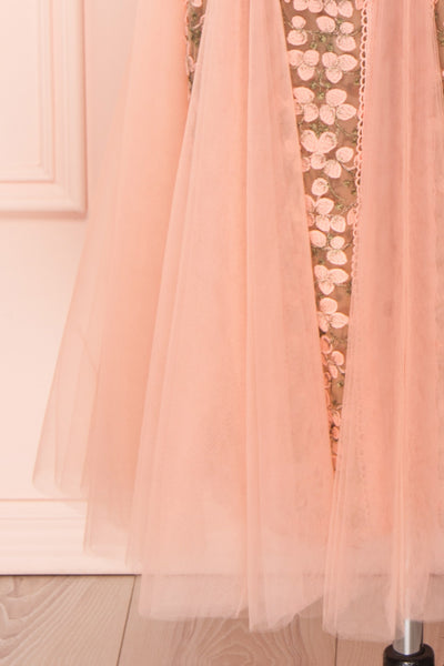 Cynosura Pink & Taupe Mesh Embroidered Maxi Dress | Boutique 1861 skirt