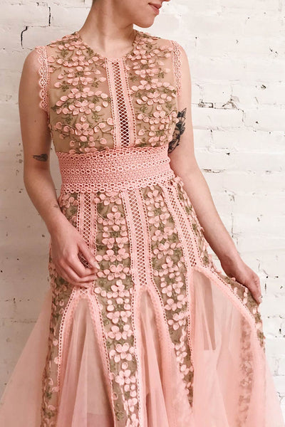 Cynosura Pink & Taupe Mesh Embroidered Maxi Dress | Boutique 1861 on model