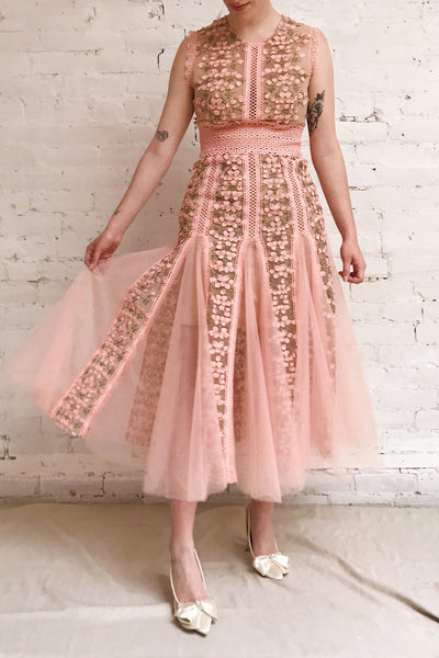 Cynosura Pink & Taupe Mesh Embroidered Maxi Dress | Boutique 1861 model look