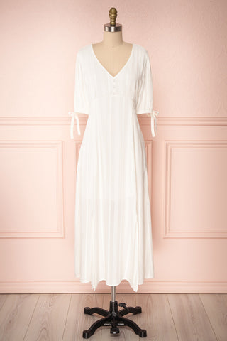 Czarne Daisy White Midi A-Line Dress with Puff Sleeves | FRONT VIEW | Boutique 1861