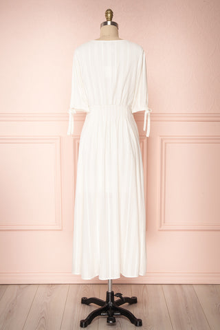 Czarne Daisy White Midi A-Line Dress with Puff Sleeves | BACK VIEW | Boutique 1861