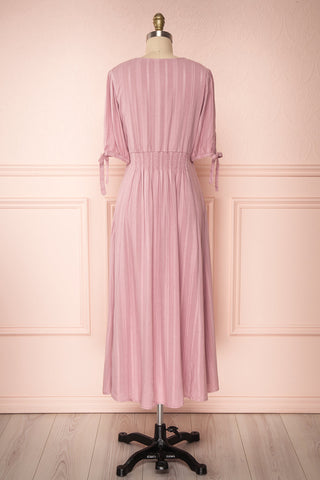 Czarne Lilac Midi A-Line Dress with Puff Sleeves | BACK VIEW | Boutique 1861