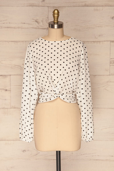 Czersk Blanc White Polkadot Long Sleeved Top | La Petite Garçonne front view