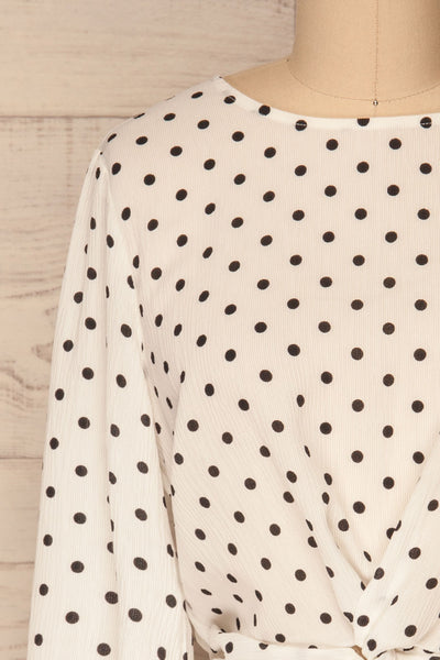 Czersk Blanc White Polkadot Long Sleeved Top | La Petite Garçonne front close-up