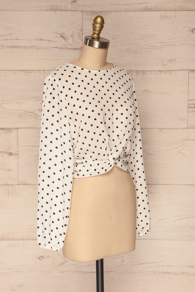 Czersk Blanc White Polkadot Long Sleeved Top | La Petite Garçonne side view