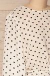 Czersk Blanc White Polkadot Long Sleeved Top | La Petite Garçonne side close-up