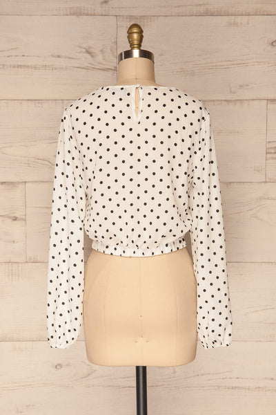 Czersk Blanc White Polkadot Long Sleeved Top | La Petite Garçonne back view