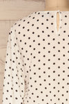 Czersk Blanc White Polkadot Long Sleeved Top | La Petite Garçonne back close-up