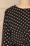 Czersk Noir Black Polkadot Long Sleeved Top | La Petite Garçonne front close-up