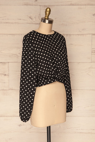 Czersk Noir Black Polkadot Long Sleeved Top | La Petite Garçonne side view