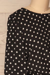Czersk Noir Black Polkadot Long Sleeved Top | La Petite Garçonne side close-up