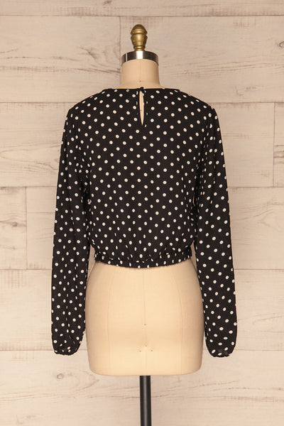Czersk Noir Black Polkadot Long Sleeved Top | La Petite Garçonne back view