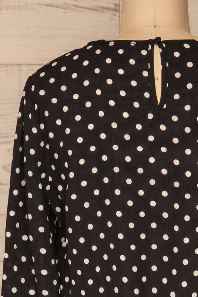 Czersk Noir Black Polkadot Long Sleeved Top | La Petite Garçonne back close-up