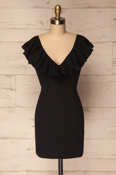 Czlopa Black Ruffled Fitted Cocktail Dress | La Petite Garçonne