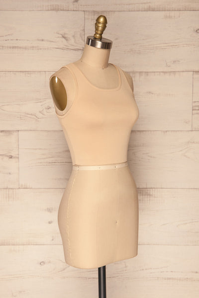 Czluchow Beige Ribbed Knit Cropped Tank Top | La Petite Garçonne side view