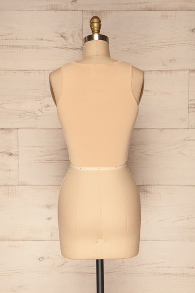 Czluchow Beige Ribbed Knit Cropped Tank Top | La Petite Garçonne back view