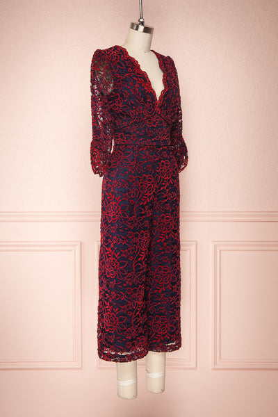 Daaimanti Red & Navy Blue Lace Jumpsuit | Boutique 1861 side view