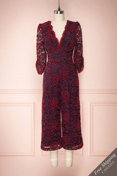 Daaimanti Red & Navy Blue Lace Jumpsuit | Boutique 1861 front view