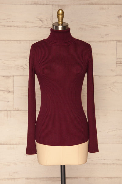 Dagsvik Burgundy Ribbed Turtleneck Top front view | La Petite Garçonne