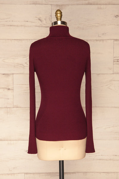 Dagsvik Burgundy Ribbed Turtleneck Top back view | La Petite Garçonne