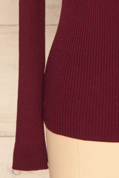 Dagsvik Burgundy Ribbed Turtleneck Top sleeve close up | La Petite Garçonne